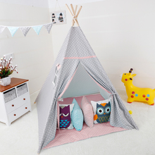 Princess Teepee Fairy Play Tent Large Handcraft Cotton Canvas Indoor Outdoor Kids Tipi Playhouse Boys Girls Baby Home Decor Gift blue grid teepee tent for kids boys tipi tent wigwam playhouse