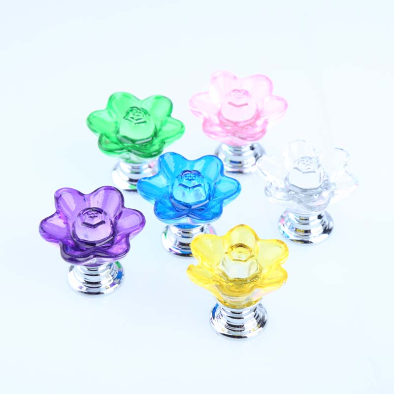 29mm creative plum blossom glass crystal knobs pulls silver green pink purple clear yellow blue glass drawer shoe cabinet knnobs css clear crystal glass cabinet drawer door knobs handles 30mm