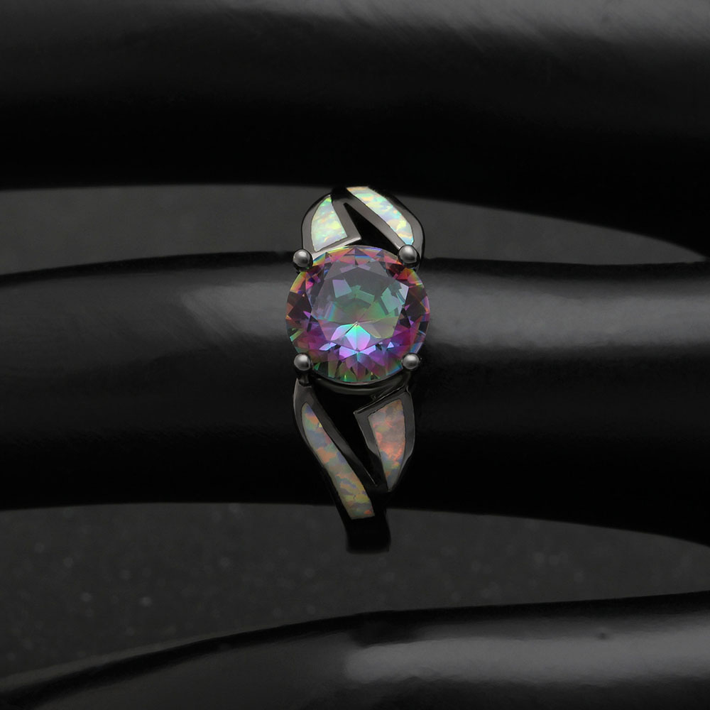 Mystic created Engagement Rings Rainbow Black gold-color jewelry women 8mm Cubic Zircon Rings For Women 2017 New Year Gifts
