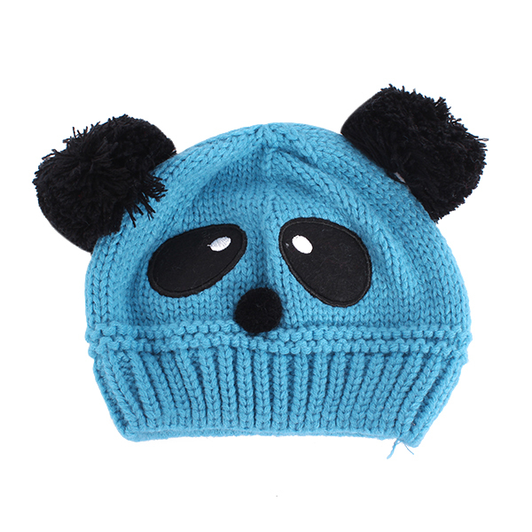 Toddlers Baby Kids Cartoon Panda Ball Knitted Crochet Beanie Cap Winter Hat Hot Selling