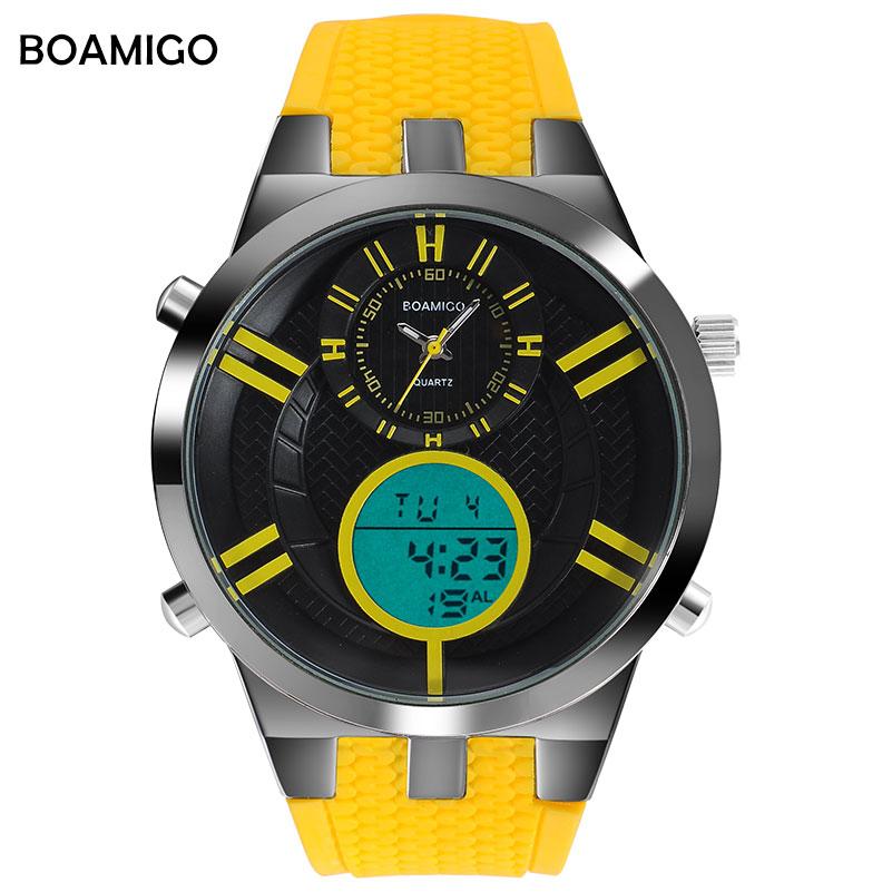 men sport watches dual display quartz watch analog digital LED Electronic clock rubber strap BOAMIGO brand yellow wristwatches
