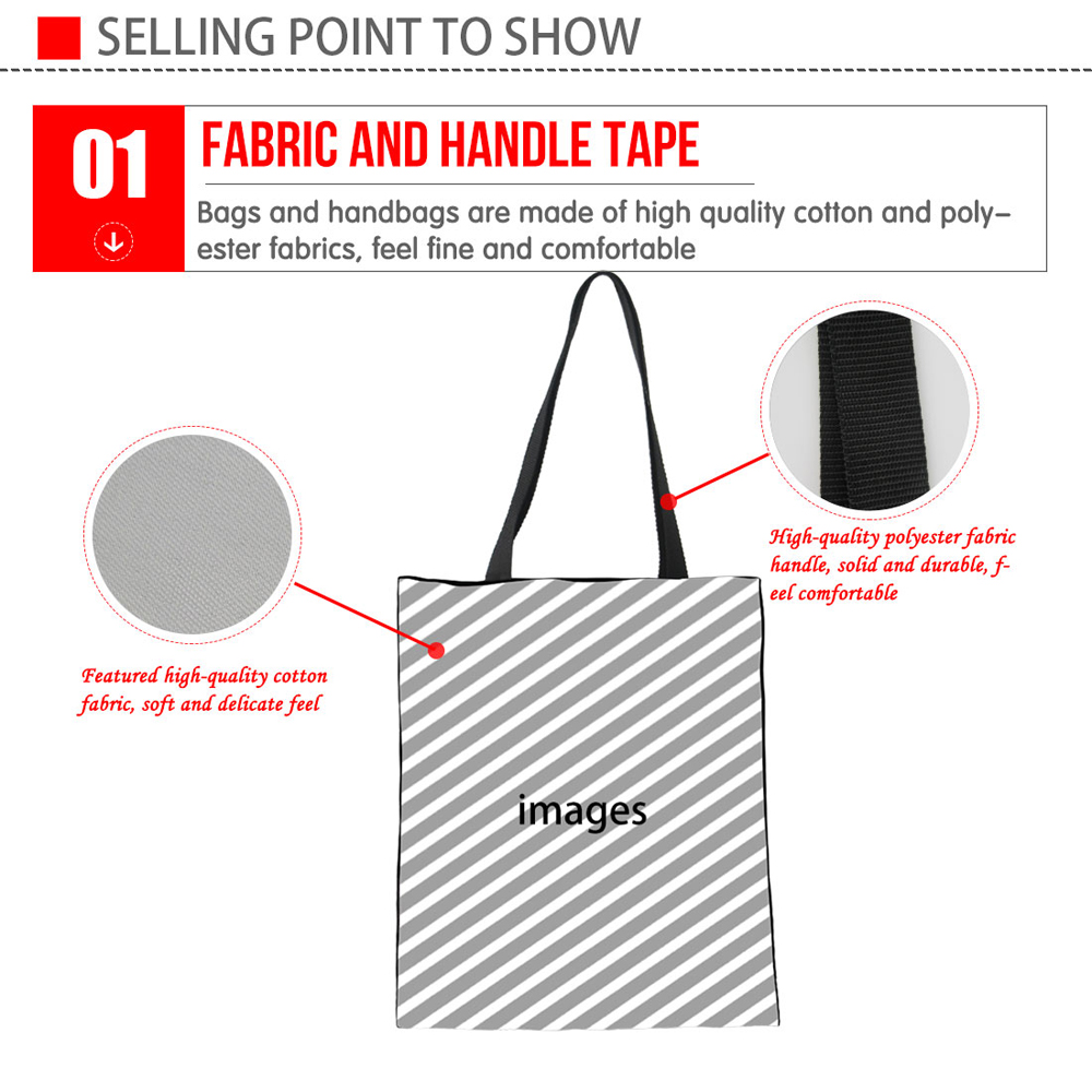 INSTANTARTS Linen Casual Shopping Bag Cute French Bulldog Pink Tote Handbag Cotton Canvas Eco-friendly Grocery Bag Shoulder Bag