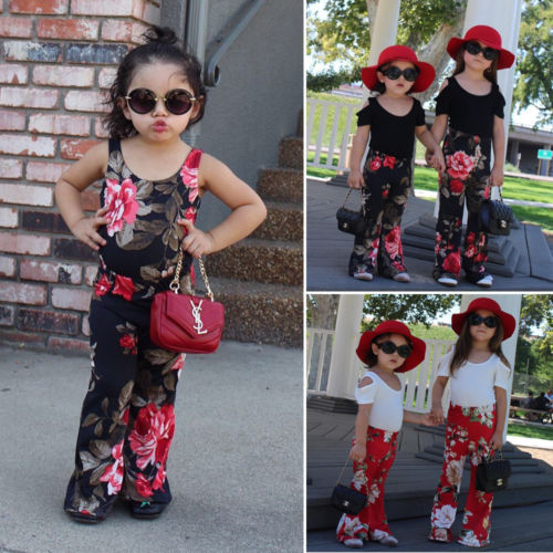 28a667ac1d 2 7Y Toddler Girls Kids Floral Red Black Colors Leggings Bell Bottom Wide  Leg Flare Pants Trousers 2 7-in Pants from Mother & Kids on Aliexpress.com  ...