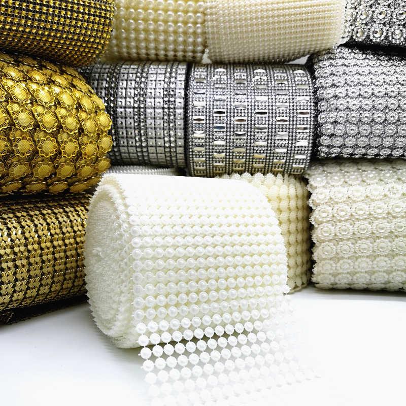 1 yarda de cuentas de perlas, cadena de malla, cadena de diamantes de imitación, costura en adornos, apliques para trajes de boda