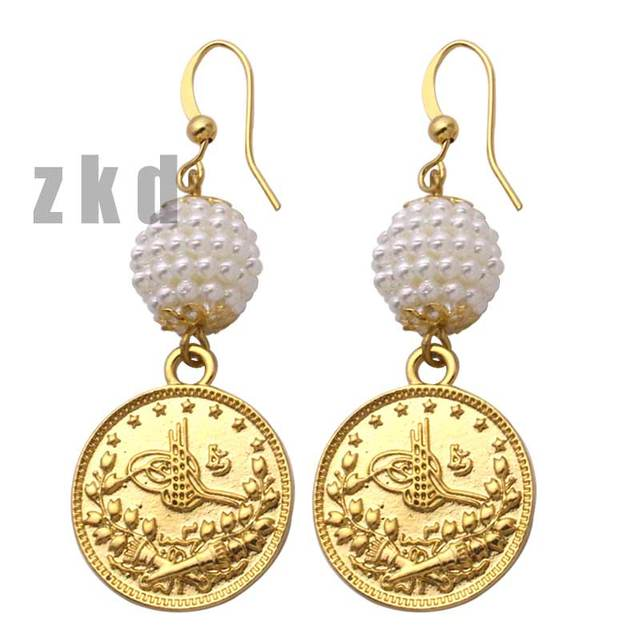 US $4 5 |zkd islam muslim Turkey Coins Arab Coins Earrings Turks Africa  Party jewerly-in Stud Earrings from Jewelry & Accessories on Aliexpress com  |
