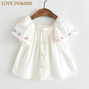 LOVE DD&MM Girls Shirts 2020 Summer New Children's Wear Girls Cute Flowers Small Fish Rmbroidery Shoulder Short-Sleeved Shirt(China)