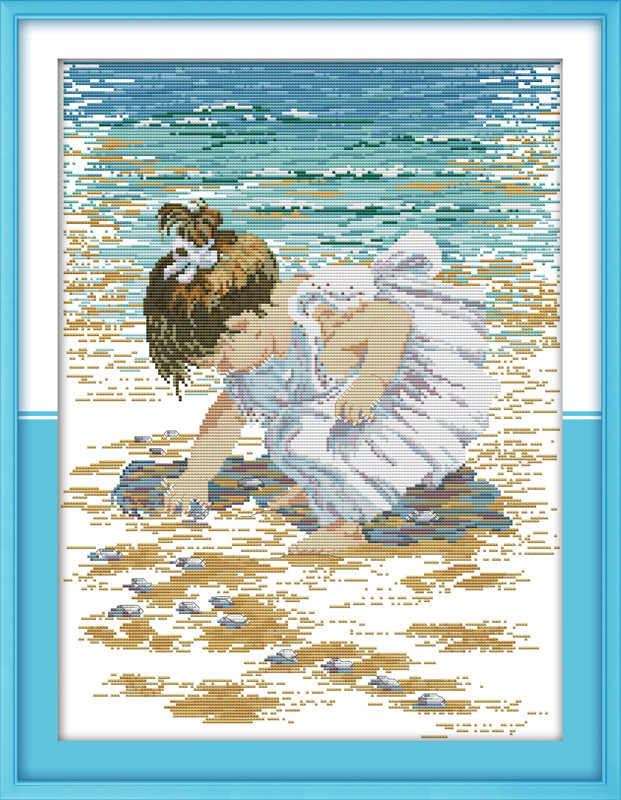 A girl Pick up shells Printed Canvas DMC Counted Chinese Cross Stitch Kits printed Cross-stitch set Embroidery Needlework