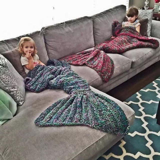80 CM * 180CM Trendy Warm Knitted Mermaid Tail Robes Winter Chic Kids Adult Sofa Seeping Bag Autumn Winte Soft Wrap Bedding