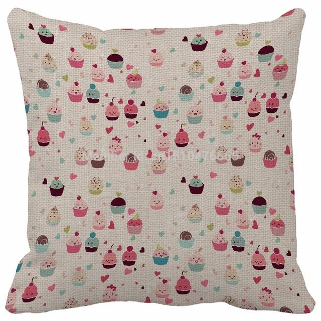 Throw Pillow Cover Linen Cute Love Cupcakes Food Seamless Print