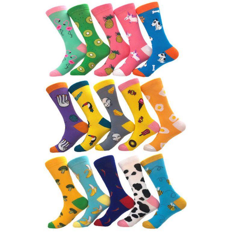 Winter Women Socks Cotton Funny Long Socks Happy Food Watermelon Harajuku Fruit Animal Crazy Socks Unisex Fancy Funky Sokken