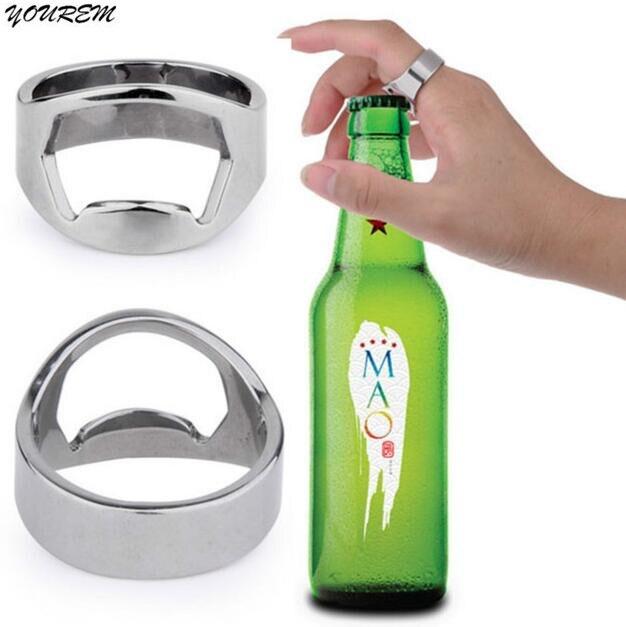 YOUREM stainless steel quality beer openner ring for men women unisex poker openner rings drop ship ok fj706