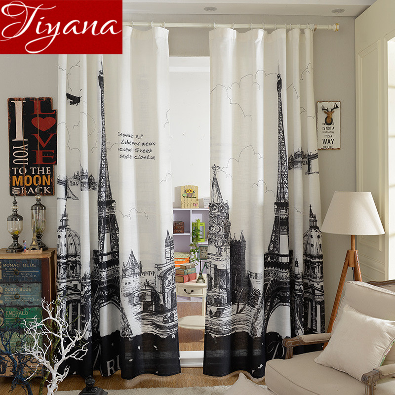Blackout Eiffel Tower 3D Curtains Black And White Printed Finished Product  Modern Simple Cafe Bedroom Curtains. Online Buy Wholesale bedroom curtains with eiffel tower from China