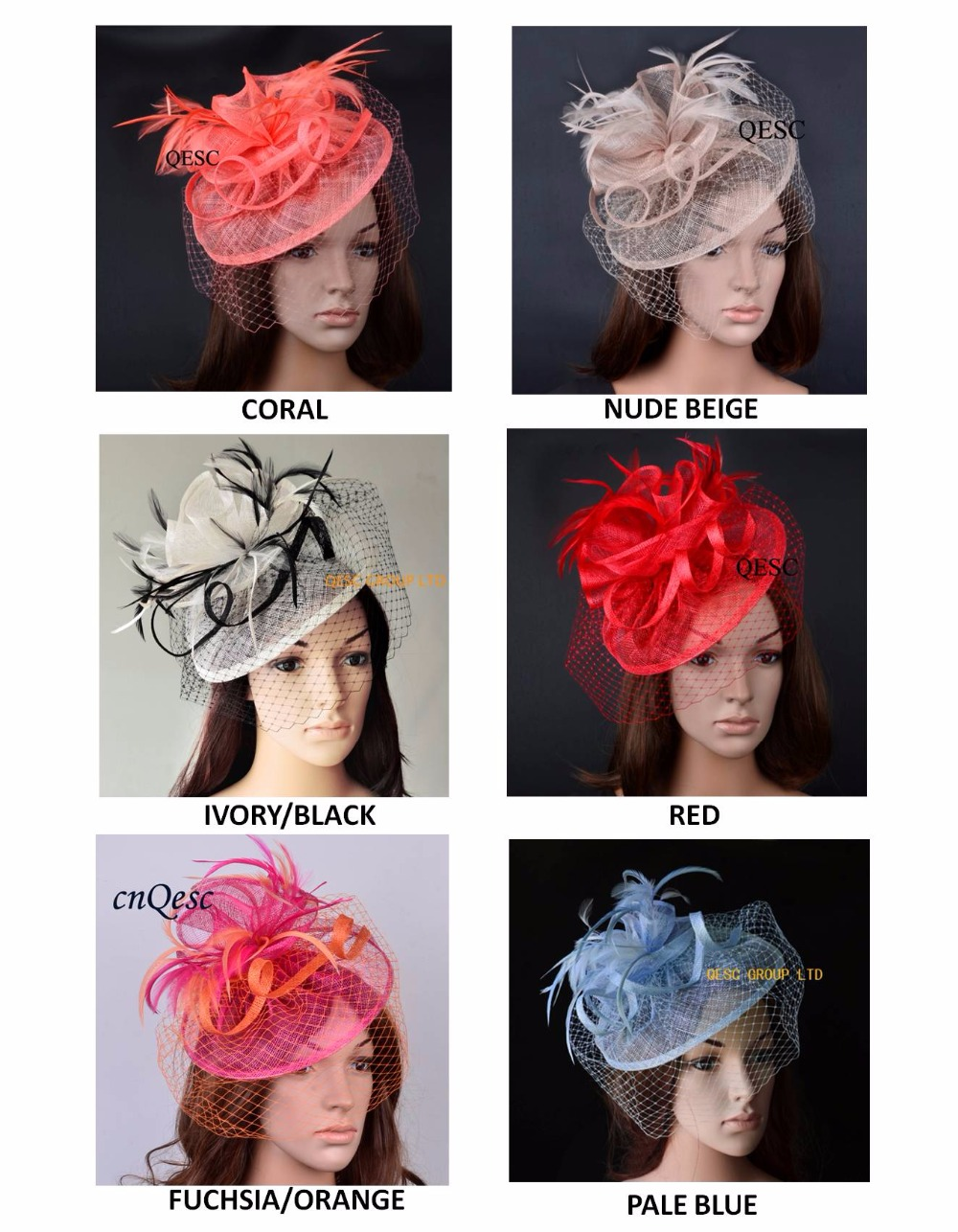 New colors arrival Sinamay fascinator hat with feathers and veiling for Kentucky Derby church wedding party