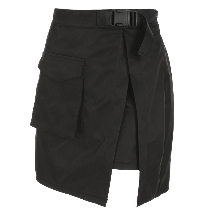 Mini Summer Casual A-line Short Skirts Split Pockets Fashion Skirts Womens Sexy High Waist Mini Skirt