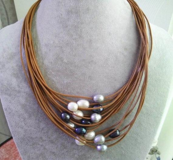 Date élégante dames bijoux ensemble 15 brins marron cuir corde blanc gris noir multicolore eau douce collier Bracelet