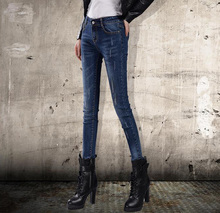 2016 Autumn Women s Fashion Full Length Mid waist Elasticity Feet Denim Pencil Pants