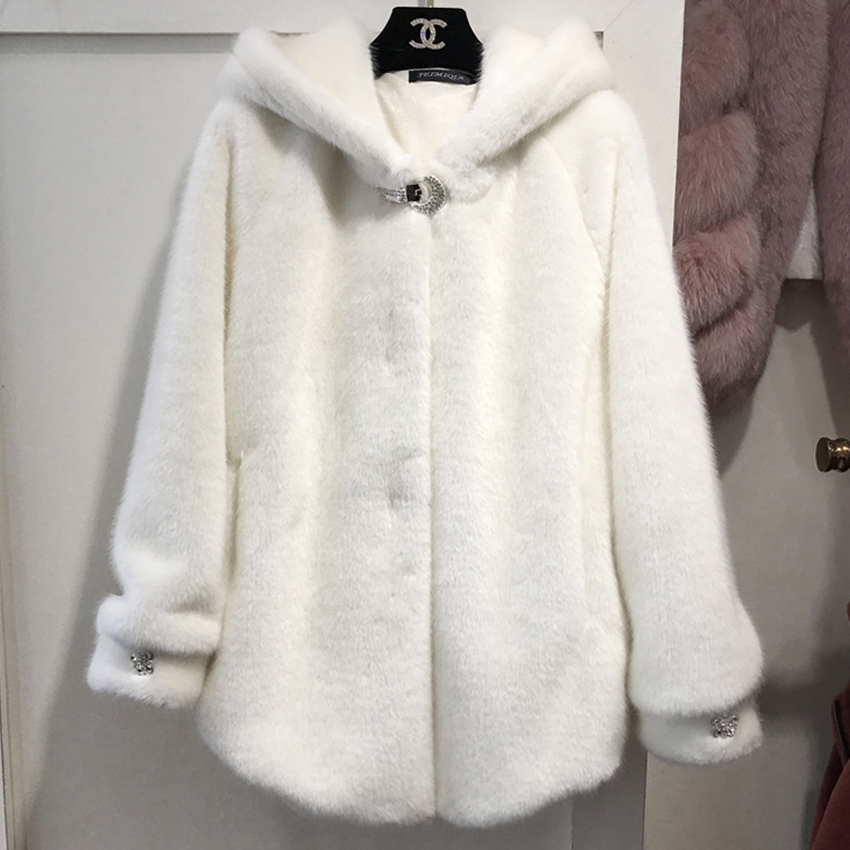 2019 Chic Faux Fur Coats Jackets Hooded Women Autumn Winter Fur Overcoat Cozy Soft Warm Outerwear Female Warm Winter Jacket