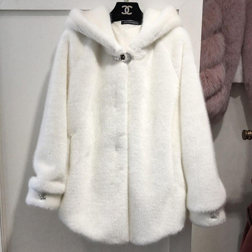 2019 Chic Faux Fur Coats Jackets Hooded Women Autumn Winter Fur Overcoat Cozy Soft Warm Outerwear Female Warm Winter Jacket