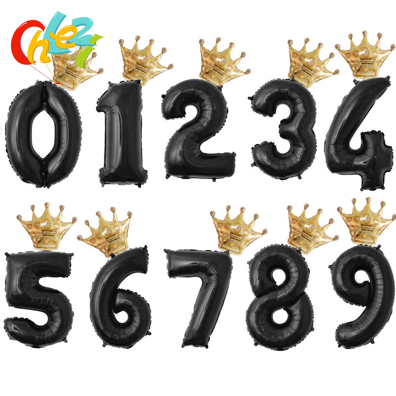32inch Black Gold Silver <font><b>Number</b></font> <font><b>balloon</b></font> Gold Crown Foil ballons figure 1 2 3 4 5 6 7 <font><b>8</b></font> year Boy girl Birthday Party Decoration image