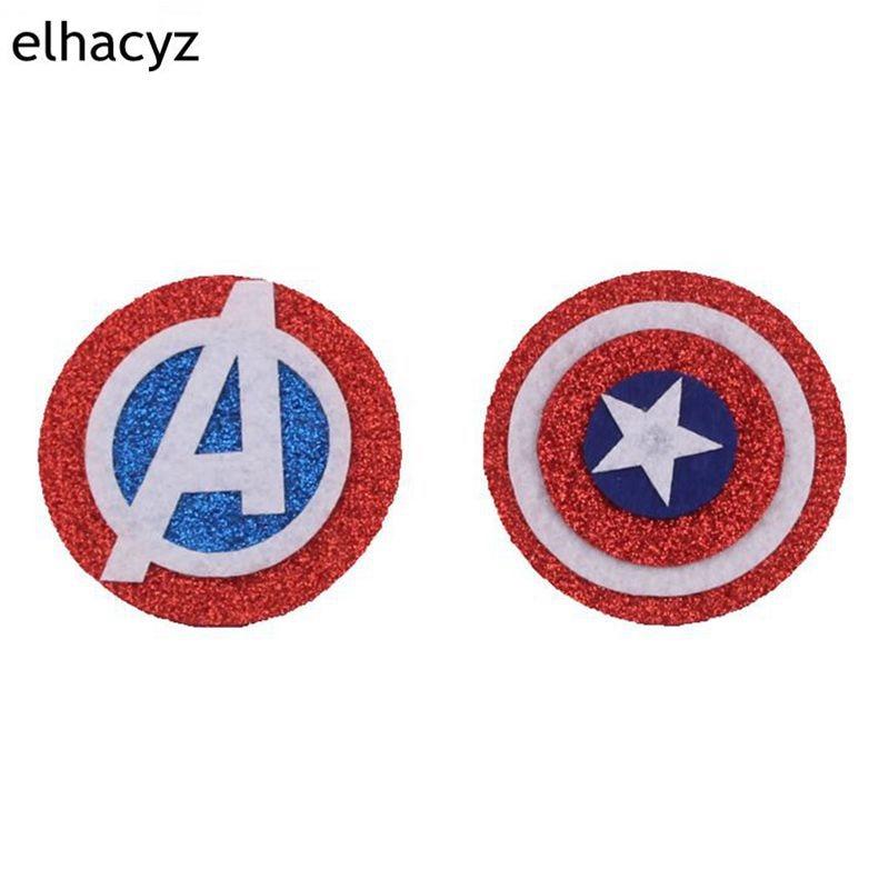 10pcs/lot 2.4'' Glitter America Shield Round Felt Pad Hair Accessories Star Minnie Mouse Ears Headband DIY Accessories For Kids