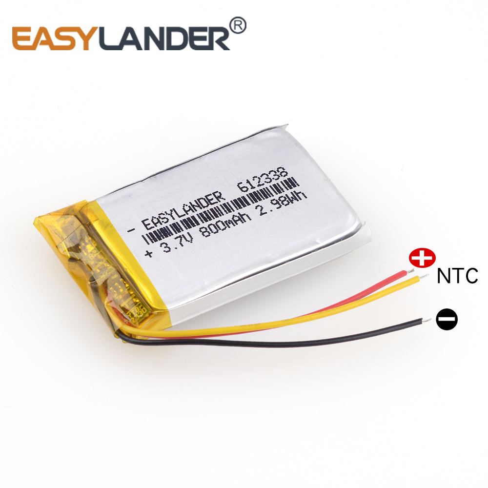 612338 3.7V 800mAh Rechargeable li-Polymer Battery For smart home MP3 mp4 speakers DVR VR GPS cell phone Driving recorder