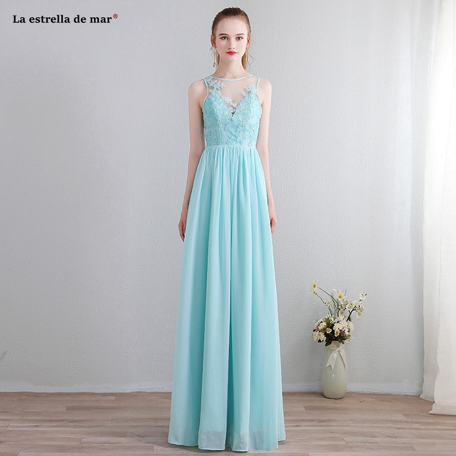 Vestido De Madrinha De Casamento Longo New Lace Chiffon A Line Blush Light Blue Bridesmaid Dresses Long Plus Size Cheap