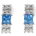 Beautiful Swiss Blue Topaz, White Cz SheCrown Engagement Created  Silver Stud Earrings 16x6mm
