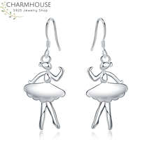 Charmhouse 925 Silver Earrings for Women Ballet girl Earing Brincos Femme Pendientes Fashion Jewelry Accessories Party Gifts charmhouse 925 silver earrings for women leaf dangle earing brincos pendientes fashion jewelry accessories party gifts