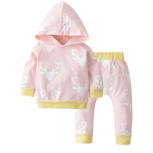 2017 Autumn Baby Clothing Set Cotton Long Sleeve Baby Girls Deer Printing Casual Clothes Hooded Tops+Pants Newborn Outfits autumn newborn toddler baby kids girls clothes long sleeve floral hooded tops leggings pants outfits cotton two piece set
