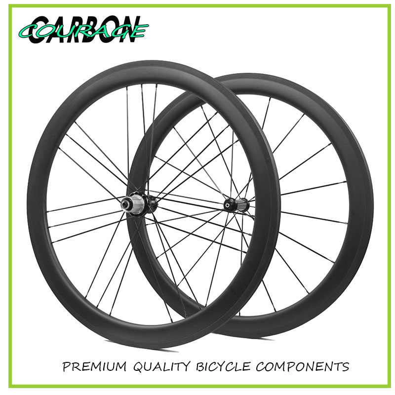 Clincher Wheels and Tires 50MM Depth 23mm Wide Front Rear Wheel Bike Wheels Carbon Wheels for Road Bike width 23mm mixed chinese carbon clincher road bike 3k twill weave front wheel 50mm rear wheel 60mm paint oem decal sticker logo