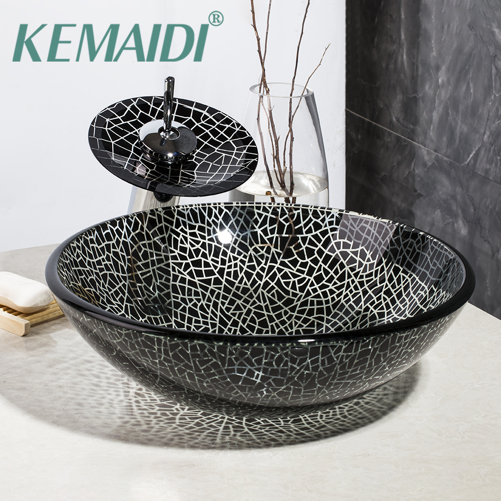 KEMAIDI Bathroom Basin Black Art  Washbasin Hand Painting Tempered Glass Vessel Sink With Waterfall Oil Rubbed Bronze Faucet SetKEMAIDI Bathroom Basin Black Art  Washbasin Hand Painting Tempered Glass Vessel Sink With Waterfall Oil Rubbed Bronze Faucet Set