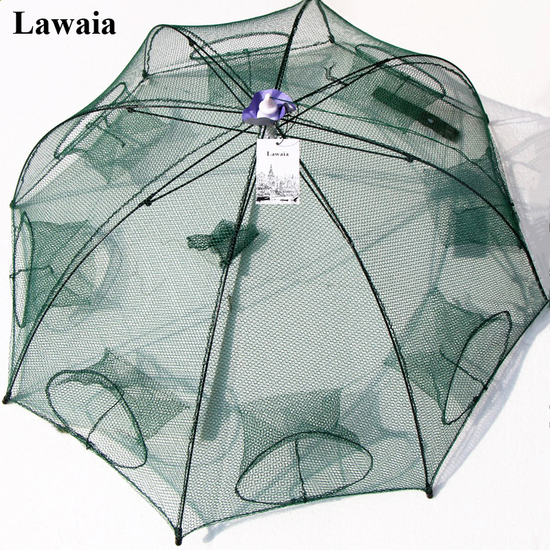 Lawaia 8 Hols fishing Net hand-made Nylon Foldable Casting Crayfish Cages For Catcher Trap Network 90CM Portable Throwing