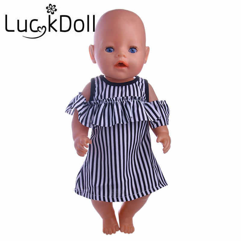 LUCKDOLL Black&White Striped Dress Fit 18 Inch American 43cm Baby Doll Clothes Accessories,Girls Toys,Generation,Birthday Gift