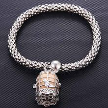 Bird Cage Silver Creative Perfume Diffusion Corn Chain Bracelet Elastic Exquisite Aroma Bracelet Ladies Fashion Jewelry Gift(China)