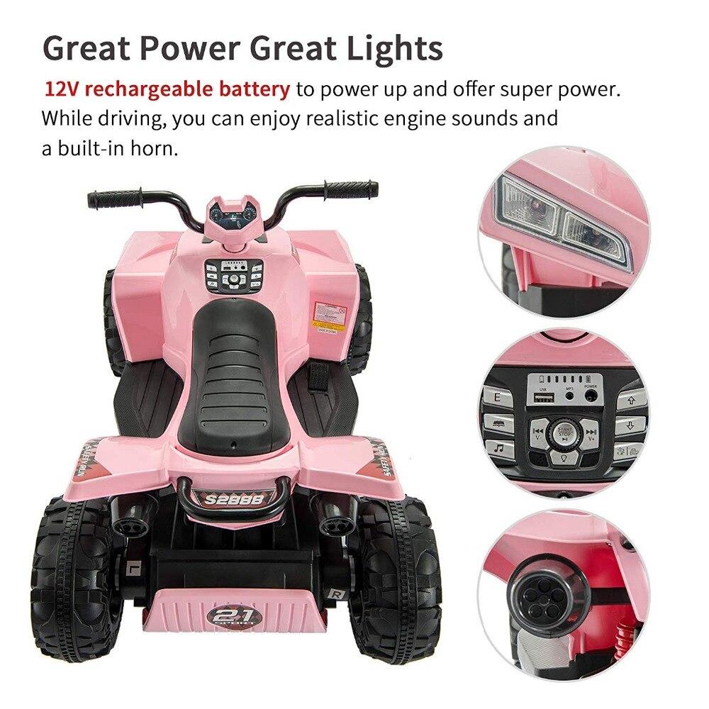 Lights /& Sounds NEW Kids Ride On Quad Bike Childrens ATV w// Storage Compartment