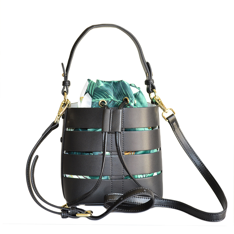 Fashion Genuine Leather 2 Pcs/Set Bucket Bag Handbag Luxury Designer Genuine Leather Shouder Bucket Inside Flower Print Silk Bag