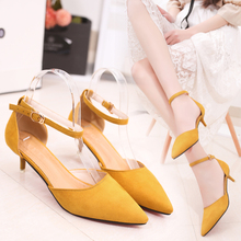 Cremulen 2019 Summer New Style Women Fashion Med Heel Shoes Buckle Strap Sandals Single Sexy Lady