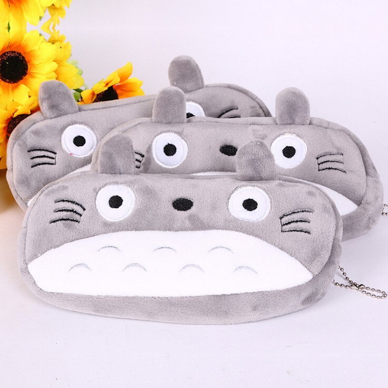 Q43 Kawaii Cute Totoro Soft Plush Pen Case Pencil Box Bag Cosmetic Makeup Pouch Storage Kids Birthday Gift j26 kawaii cute moomin canvas pen bag pencil holder storage case school supply birthday gift cosmetic makeup travel