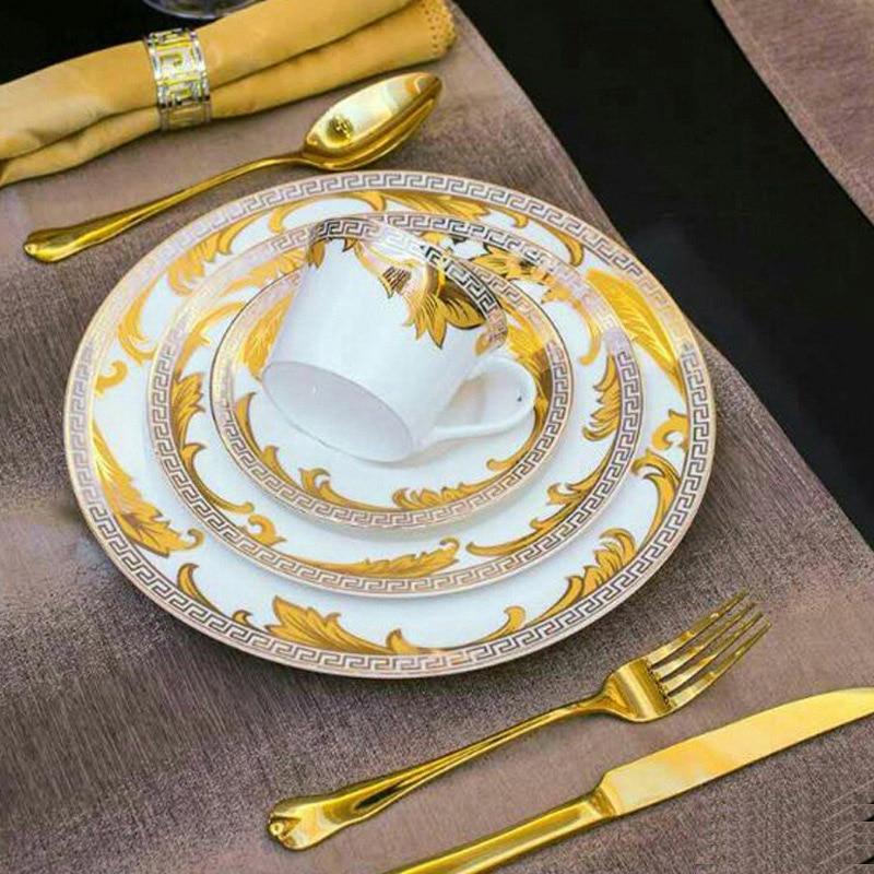 ... Advanced Dinner Set Royal Gold Leaves Flatware Set Steak Knife Fork Spoon Serving Tools Dinnerware Table & Advanced Dinner Set Royal Gold Leaves Flatware Set Steak Knife Fork ...