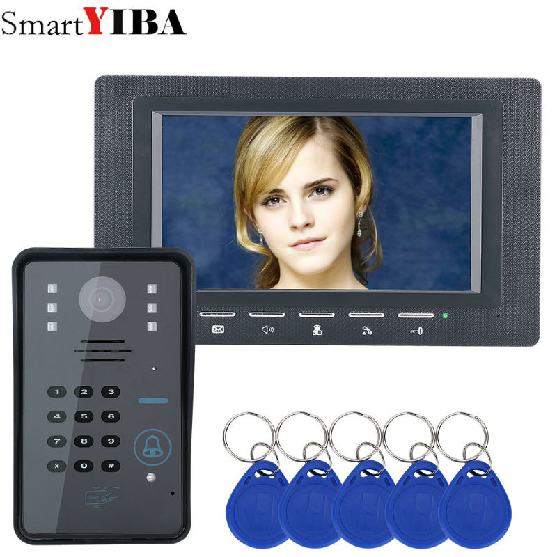 SmartYIBA 7 Inch RFID Access Door Phone Intercom kits Password Code Keypad IR Camera Video Door Bell For Home Security System free shipping 7 lcd color video door phone intercom 2 screens rfid access keypad password door bell camera electric lock