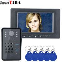SmartYIBA 7 Inch RFID Access Door Phone Intercom kits Password Code Keypad IR Camera Video Door Bell For Home Security System