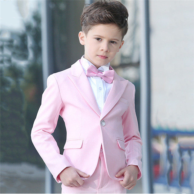 ccb8e25d2f2 KUSON 2018 Jacket Pants 2Pcs Set Pink Boys suits for weddings Kids Prom  Wedding Suits for Boy Children Clothing Formal Costume