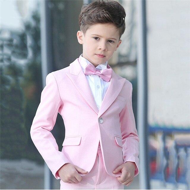fb80441bc KUSON 2018 chaqueta pantalones 2 piezas conjunto Rosa chicos trajes para  bodas niños boda Prom trajes