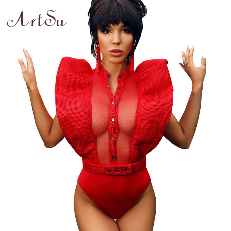 ArtSu Fashion Mesh Ruffles Bodysuit Kvinder Elegant Summer Button Jumpsuit Romper Overalls Beach Club Macacao Top ASJU30009