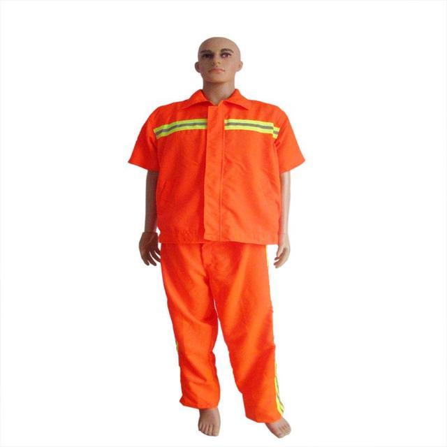 De manga curta com a orange saneamento segurança terno reflexivo saneamento smock workwear uniformes clothing