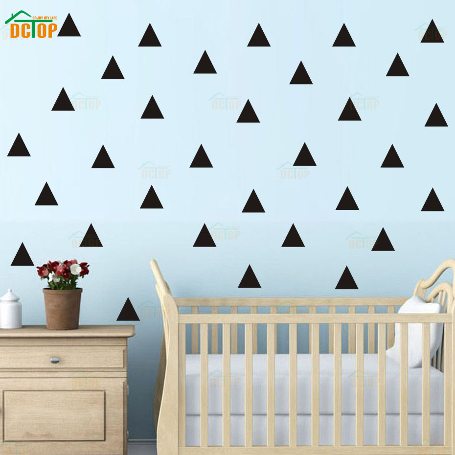 Us 3 59 28 Off Triangle Color Dot Modern Nursery Wall Art Gold Silver Sticker For Kid Bedroom Vinyl Decal Waterproof Wallpaper Home Decor In