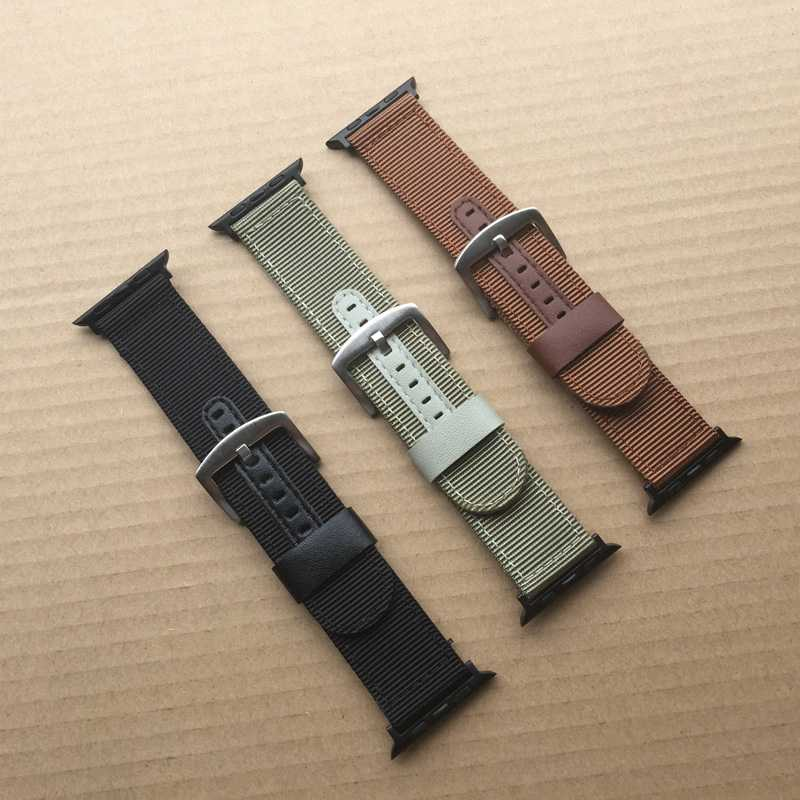 Striped Nylon+Leather Watch Band Strap for Apple Watch 38/42mm Watch Belt Bracelet for iwatch Series 1 2 3