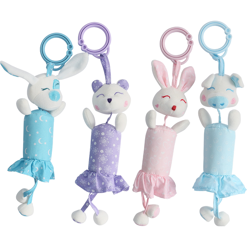 Baby toddler mobile toys 0-12 months rattle toys bed bell car hanging bed hanging toys animal plush toys Four cute bell toys