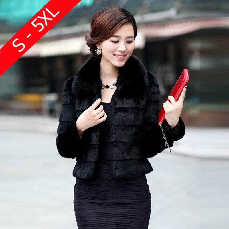 Зимнее женское пальто из искусственного меха Rabbbit с воротником из искусственного лисьего меха 4XL 5XL Большие размеры плотное меховое Болеро в...