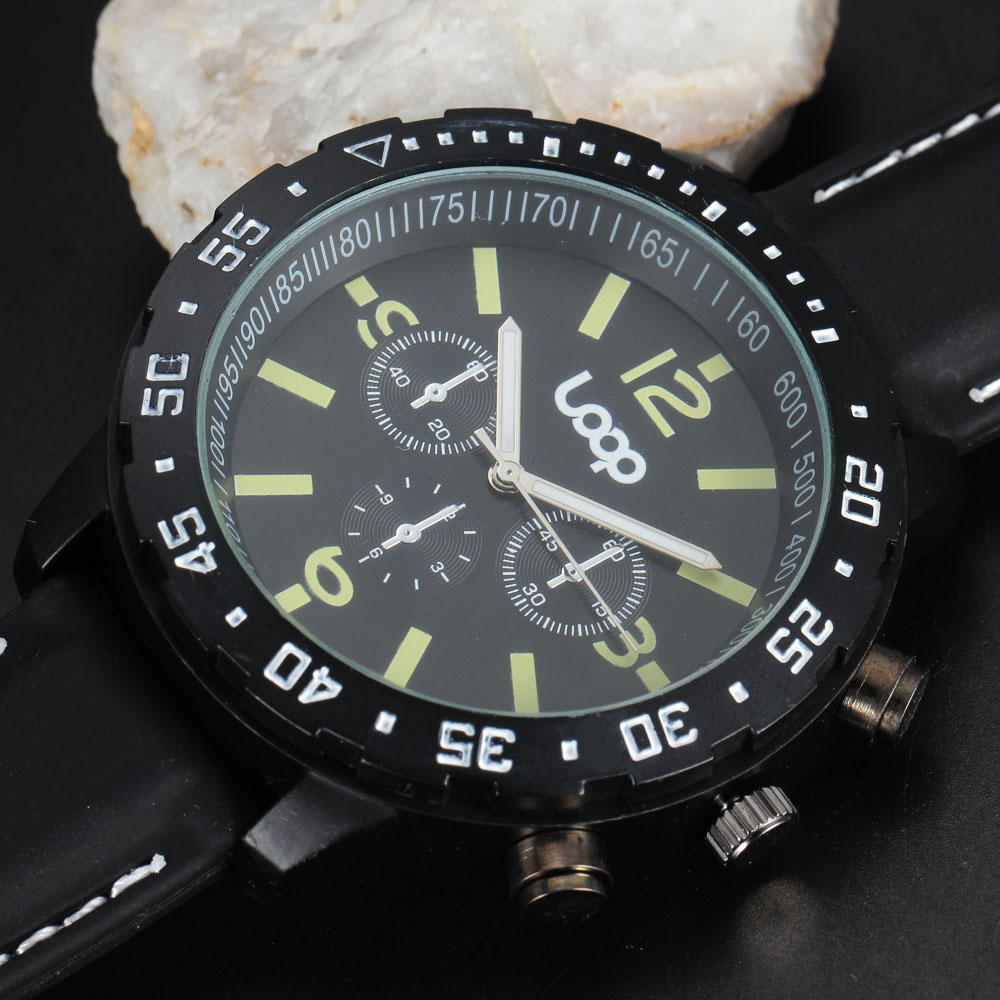 Top Brand LOOP Logo Mens Sport Watches Military Watch Casual Luminous Chronograph Dial Silicone Band Clock Men Gift Wristwatches
